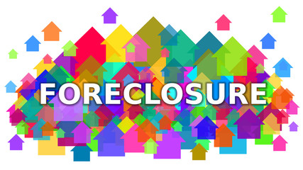 Foreclosure White Text on Colorful Houses Symbol Background