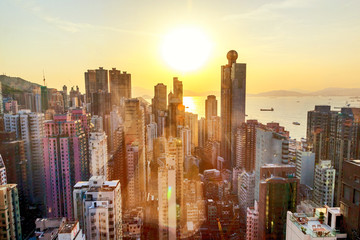 Hong Kong at sunset, financial center of Asia. Beautiful citysca