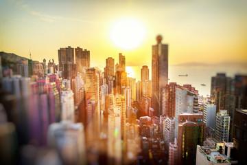 Türaufkleber Hongkong Hong Kong at sunset, financial center of Asia. Beautiful citysca
