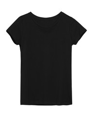 Woman`s black t-shirt with copy space isolated on white