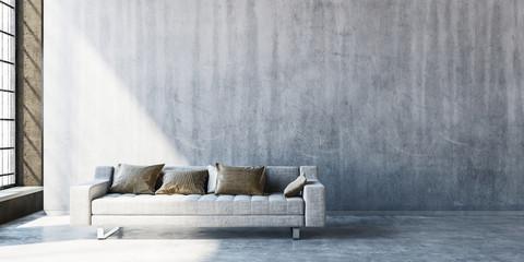 3D render of large sofa on concrete floor