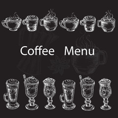 hand drawn set coffee menu on the black background