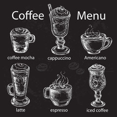 hand drawn set types of coffee on the black background