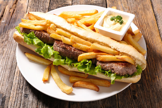 american sandwich with french fries