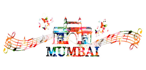 Gateway of India, Mumbai landmark with music notes isolated. Design for poster, brochure, banner. Mumbai architecture template vector illustration, travel background