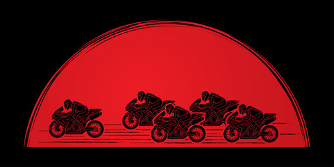 5 Motorcycles racing side view designed on sunrise graphic vector.