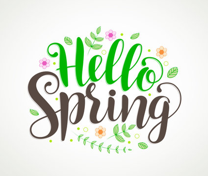 Hello spring text typography vector design with colorful flowers and leaves elements and decorations in white background. Vector illustration.