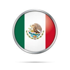 Vector Mexican flag Button. Mexico flag in glass button style with metal frame