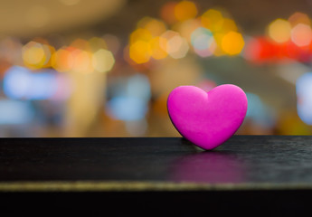 Pink heart-shaped chocolate gifts for Valentine's Day.On bokeh lighting background
