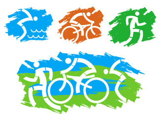 Triathlon grunge stylized icons.