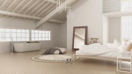 Scandinavian white bedroom, loft interior design, minimalistic b