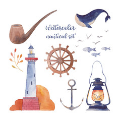 Watercolor nautical set. Hand drawn cartoon elements: lighthouse, fishes, whale, sea gull, lantern, coast plant, smoking pipe, anchor, steering wheel. Isolated objects on white background