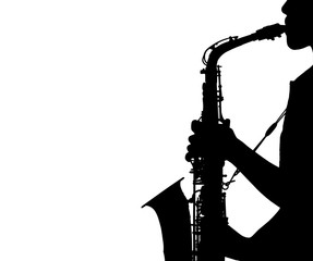 silhouette young woman playing the saxophone isolated on white background
