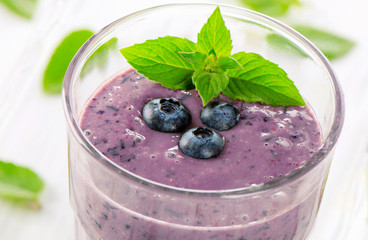 fresh blueberry smoothie with mint.