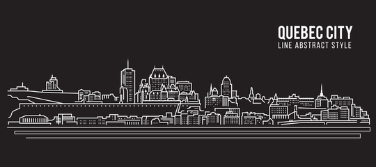 Cityscape Building Line art Vector Illustration design - Quebec city