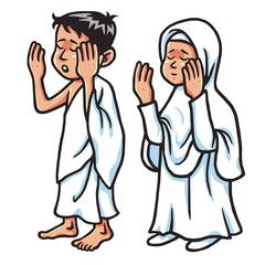 Boy And Girl Hajj Praying Vector Illustration