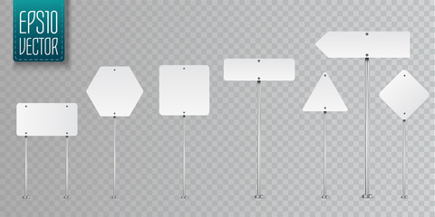 Set of blank vector road signs isolated on transparent background. Fotoväggar