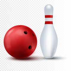 Red bowling ball and skittle Isolated on a transparent background.