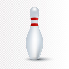 Single bowling pin with red stripes isolated on transparent background