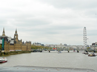 River Thames - views from London bridge, rainy weather