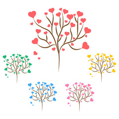 Set of love trees with red, green, blue, pink and yellow hearts leaves different sizes on white background. Vector illustration
