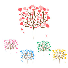 Set of beautiful love trees with red, green, blue, pink and yellow hearts leaves different sizes on white background. Vector illustration