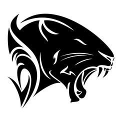 black panther profile head vector design