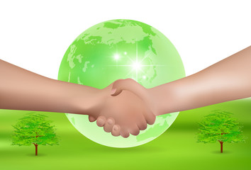 手 握手 地球 背景
