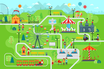 Amusement park map infographic elements in flat vector design. Happy people spend time relaxing in nature. Parents and children are walking in the park, attractions, castle, Ferris wheel, train, cars