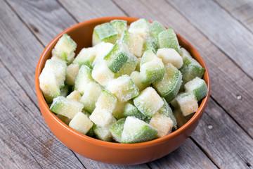 Frozen zucchini in a bowl