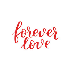 handwritten lettering quote about love to valentines day design or wedding invitation or poster, home decor and other, calligraphy vector illustration. red brush ink on white isolated background.