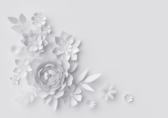 3d render, digital illustration, white paper flowers, floral background, corner decoration