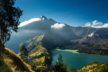 "Crater Lake and Summit. View of crater lake and summit, volcano ""Gunung Rinjani"", Lombok, Indonesia."