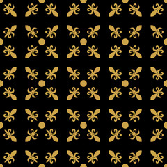 Fleur de lis in diagonal arrangement with dot in the middle. Abstract retro geometrical seamless pattern. Gold vector illustration on black background.