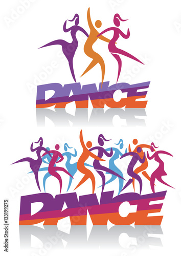 Modern dancing disco dance. Word dance with people dancing modern ...