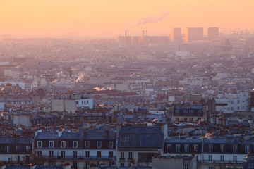 Early morning view of beautiful city of  Paris from Montmartre, France
