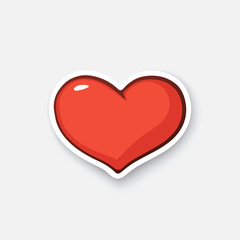Vector illustration. Simple heart. Valentine's Day symbol. I love you. Cartoon sticker in comic style with contour. Decoration for greeting cards, posters, patches, prints for clothes, emblems