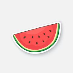 Vector illustration. Watermelon slice. Organic food. Healthy vegetarian food. Cartoon sticker in comic style with contour. Decoration for greeting cards, posters, patches, prints for clothes, emblems