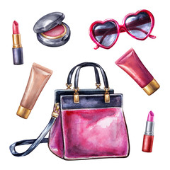 watercolor illustration, make up design elements, fashion trend, purse, bag, accessories, decorative cosmetics