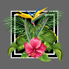 Background with tropical leaves and flowers. Palms branches, bird of paradise flower, hibiscus