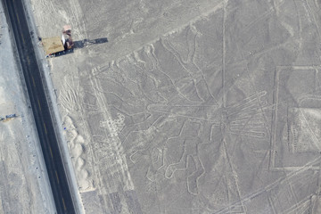 Peru, Nazca, Aerial view of geoglyphs of Nazca, Torre metallica Maria Reiche and Carretera Panamericana Sur, The Tree