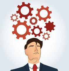 Portrait of businessman with gears icon background.