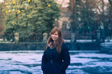 Winter Urban portrait of a girl