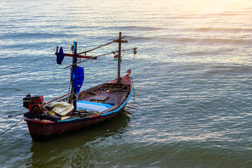 Small fishing boats in the sea Hua Hin , Thailand