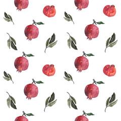 Watercolor pomegranate seamless pattern
