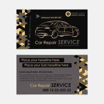 Automotive Service business card template. Car diagnostics and transport repair. Create your own business cards. Mockup Vector illustration.