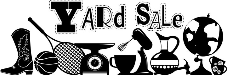 Yard sale vector silhouette banner with assorted household and sport items, EPS 8, no white objects