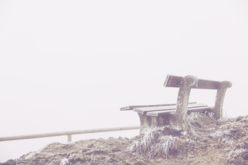 foggy summit view bench