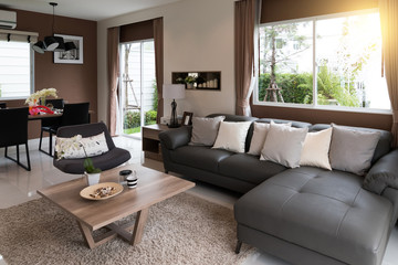 Beautiful room interior with hardwood floors and view of new lux