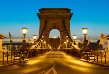 Fotomurales - Suspension Bridge in Budapest, Hungary early in the miorning
